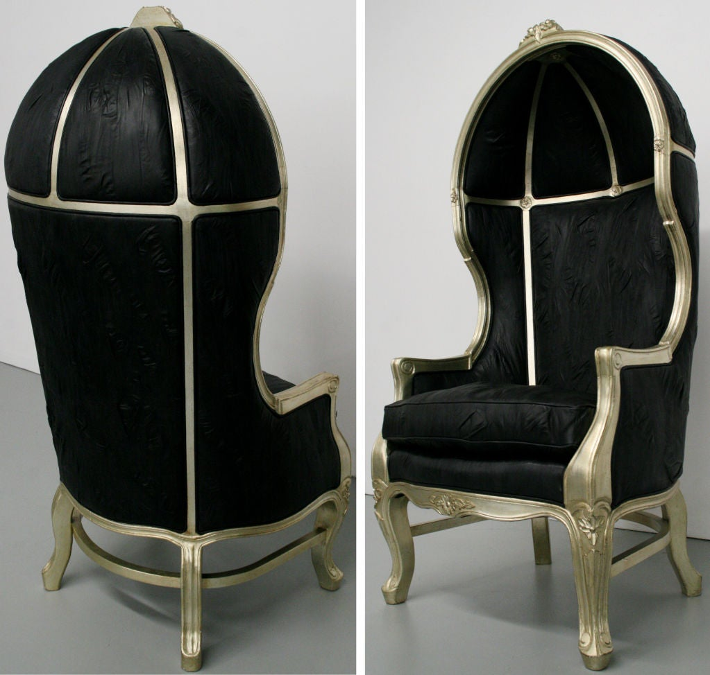 Pair Of French Silver Leaf Leather Hood Canopy Chairs At 1stdibs
