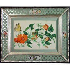 A Chinese Watercolour of Butterflies and Flowers