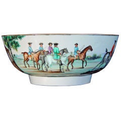 An Important Chinese Porcelain Hunting Punch Bowl