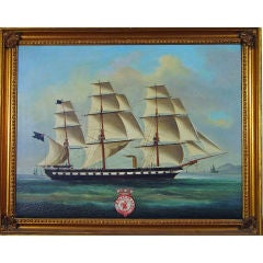 A Large Chinese Oil Painting of  H.M.S. Euryalus