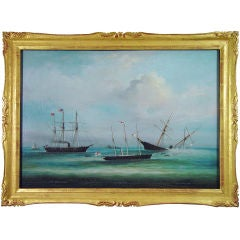 A Chinese Oil Painting of the Sinking of the CSS Alabama