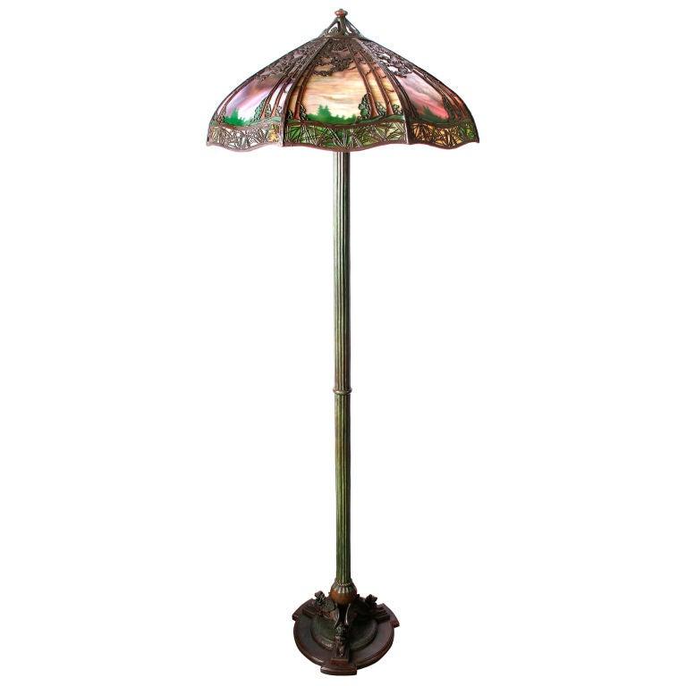 handel floor lamp bronze with reverse painted glass. Black Bedroom Furniture Sets. Home Design Ideas
