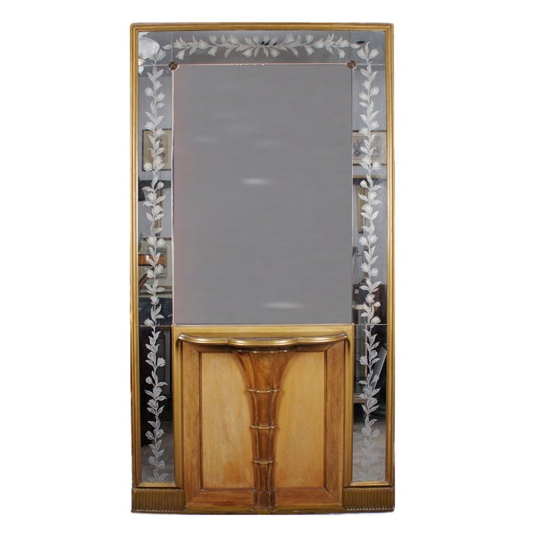 Italian console with tall etched mirror circa 1940s for for Tall mirrors for sale