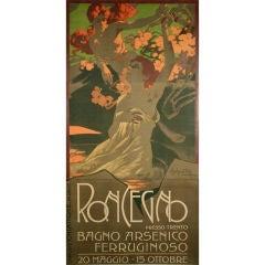 """Italian Art Nouveau Period """"Spa"""" Poster by Adolfo Hohenstein, circa 1900"""