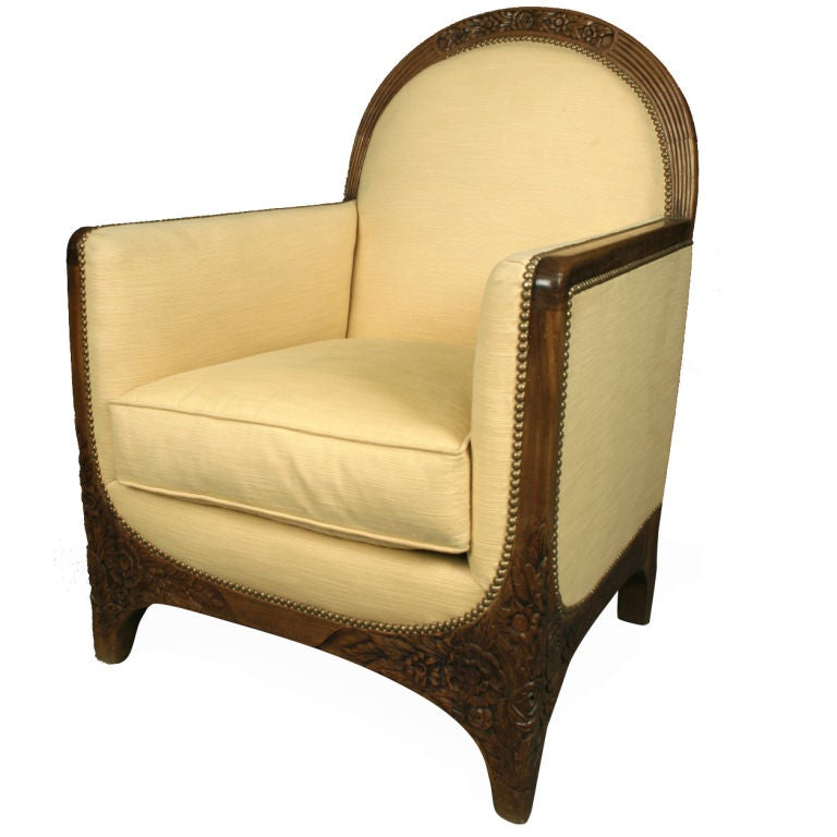 Carved walnut art deco lounge chair france c 1930s at for Art deco furniture chicago