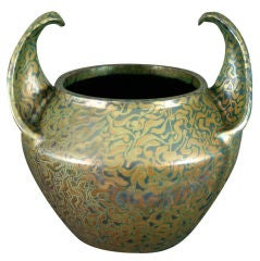 "Clement Massier Luster Glaze ""Wing Handle"" Cachepot, circa 1895"