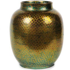Large Hungarian Ceramic Vase with Textured Eosin Glaze by Zsolnay, circa 1890