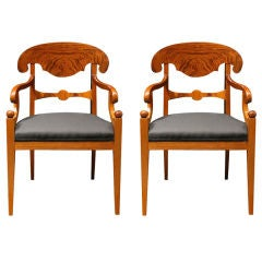 Pair Of Swedish Biedermeier Style Armchairs, Walnut, Circa 1900