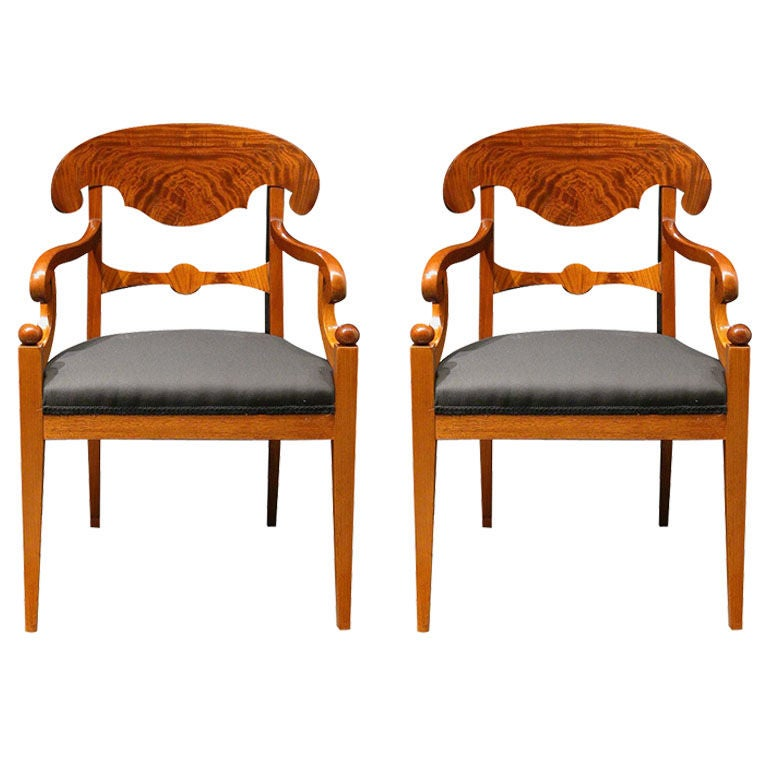 Delightful Pair Of Swedish Biedermeier Style Armchairs, Walnut, Circa 1900 1