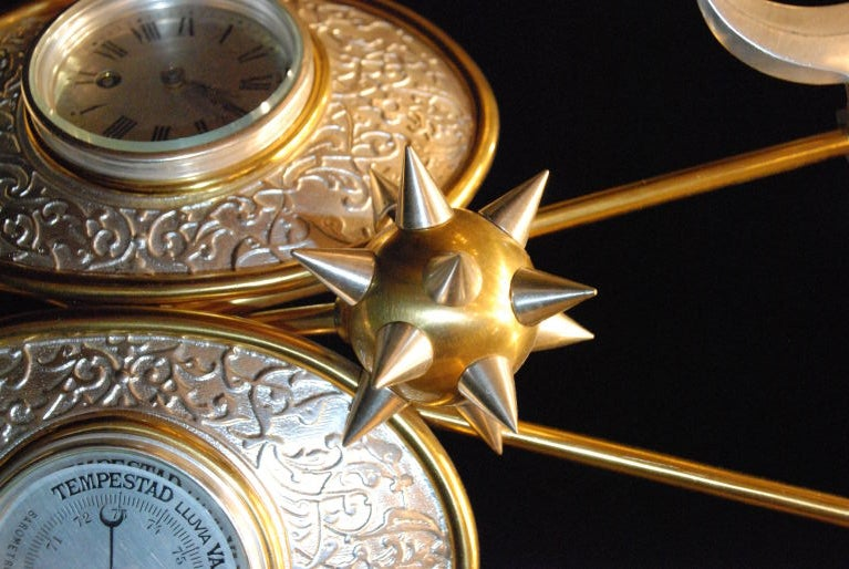 Bronze Antique Clock and Barometer For Sale