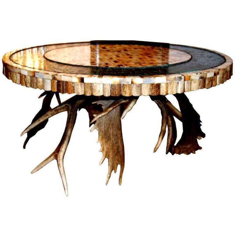 Italian Mid Century Black Square Metal Coffee Table With: Mid 20th Century Horn Coffee Table At 1stdibs