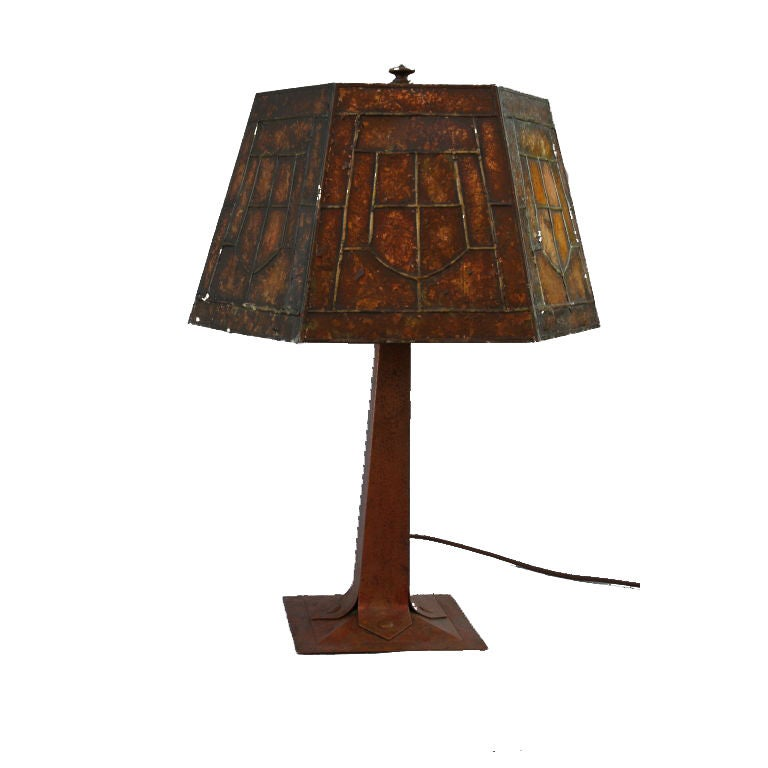 Hammered copper table lamp w original mica shade for F k a table lamp