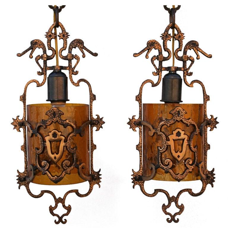 Pair 1920 39 S Spanish Revival Pendant Light Fixtures At 1stdibs