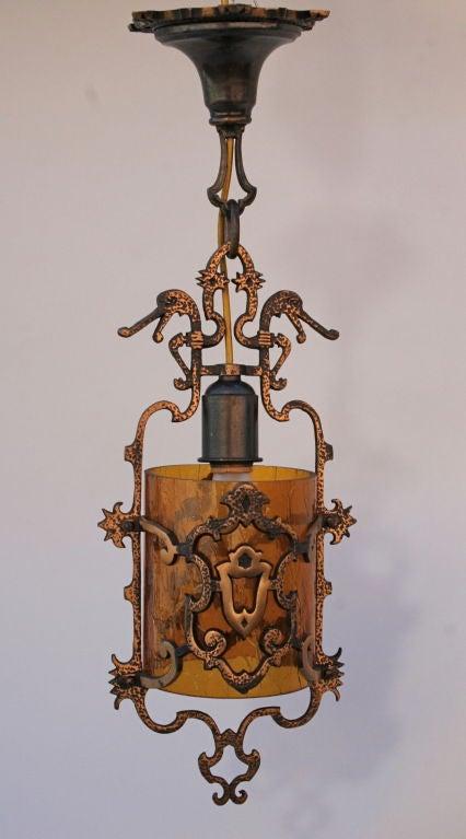Pair 1920 S Spanish Revival Pendant Light Fixtures At 1stdibs