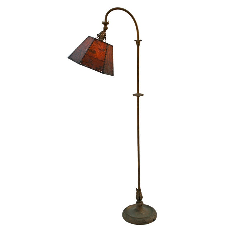 bridge lamp with mica shade at 1stdibs. Black Bedroom Furniture Sets. Home Design Ideas