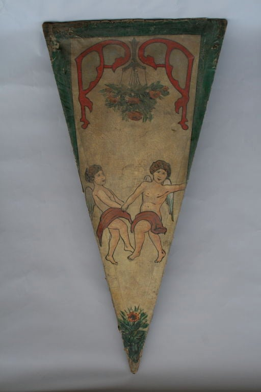 Whimsical 19th century canvas panels from a French carousel.