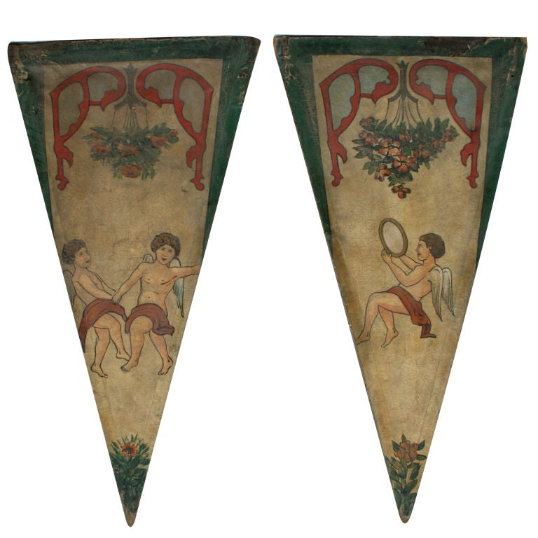 Pair of French Carousel Panels For Sale