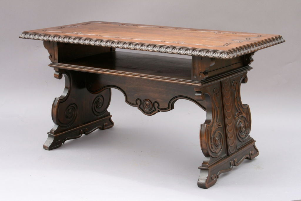 Carved Spanish Revival Walnut Coffee Table Image 2