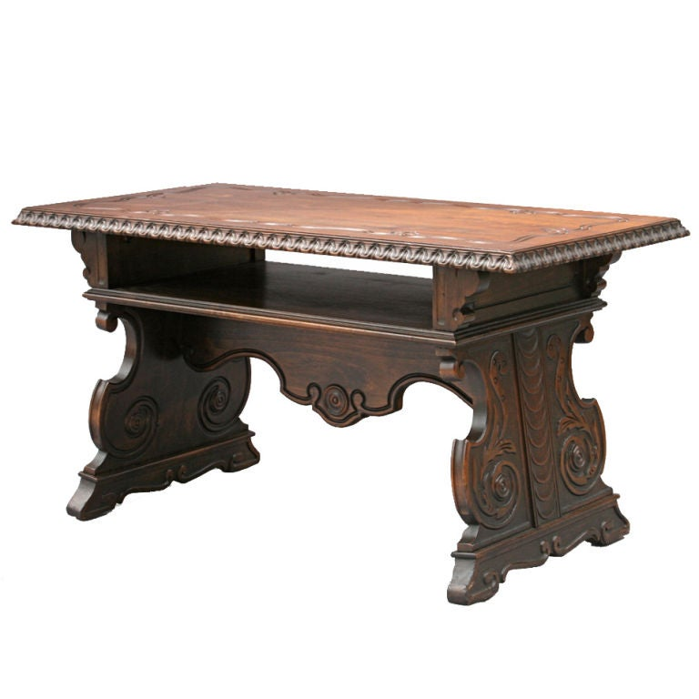 Carved Spanish Revival Walnut Coffee Table At 1stdibs