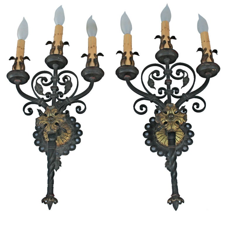 Large Iron Wall Sconces : Exceptional Pair of Large Wrought Iron Sconces at 1stdibs