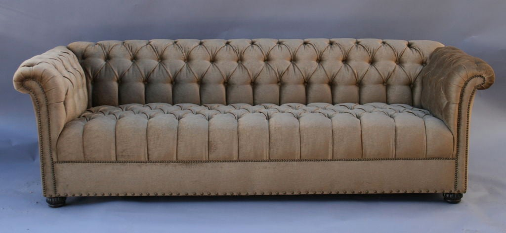 American Large 1920's Velvet Chesterfield Sofa For Sale