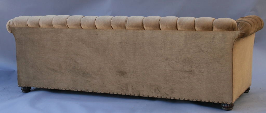 Large 1920's Velvet Chesterfield Sofa For Sale 2