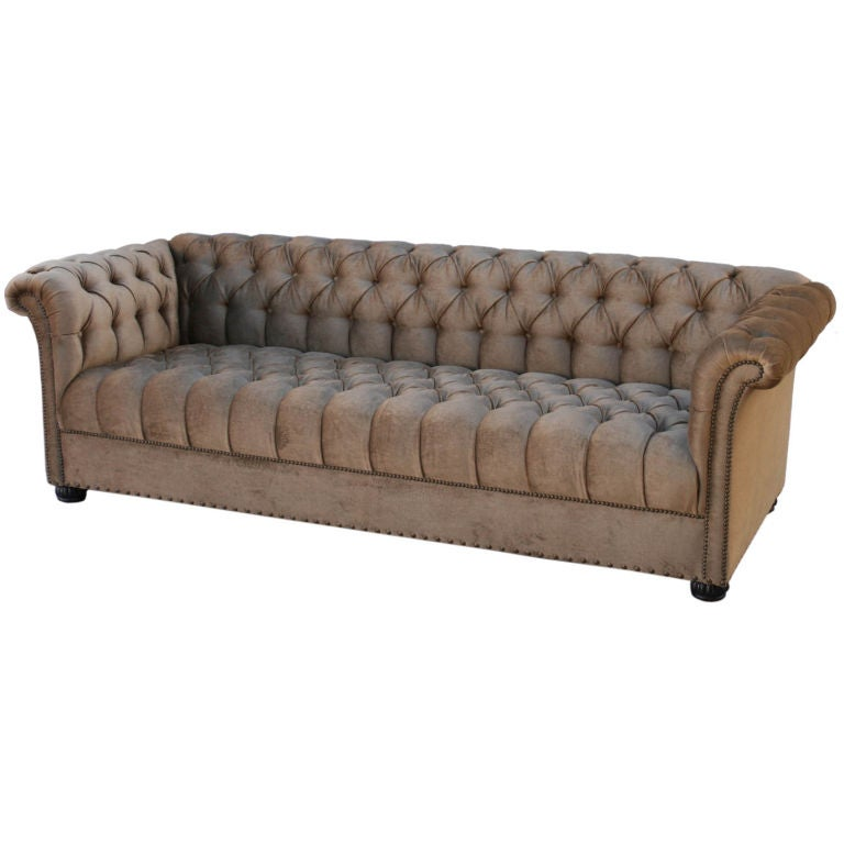 Large 1920's Velvet Chesterfield Sofa For Sale
