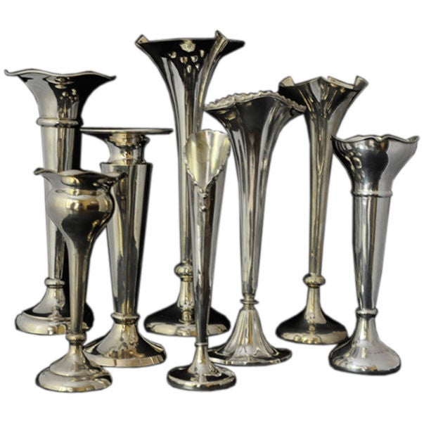 8 English Sterling Silver Vases 1