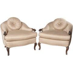 A pair of glamorous low bergeres