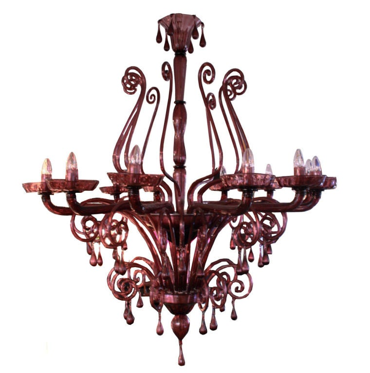 Chandelier Amethyst Blown Venetian Glass 12 Lights At 1stdibs