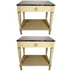 Pair of Stamped Maison Jansen Parchment End Tables