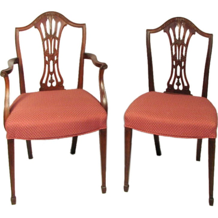Set Of Eight Hepplewhite Style Dining Chairs At 1stdibs