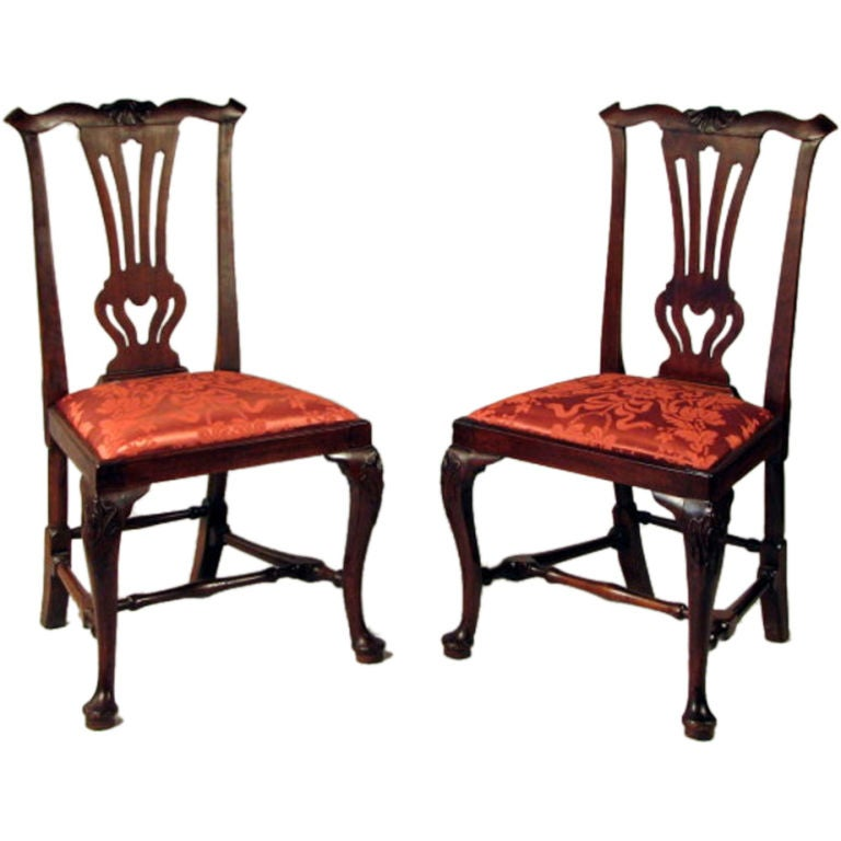 Matched Pair Of Queen Anne Transitional Walnut Side Chairs At 1stdibs