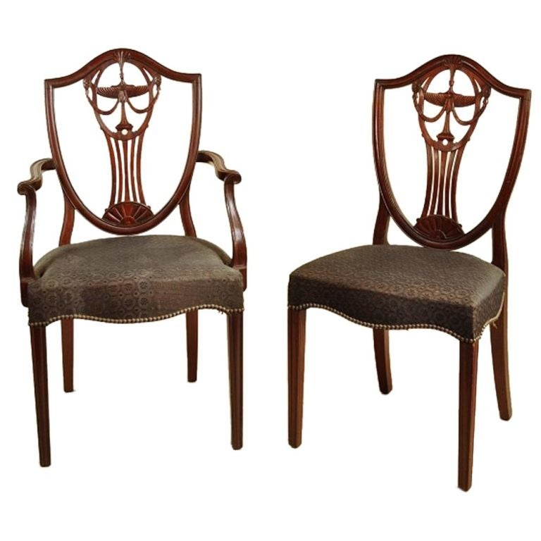 Set Of 12 Hepplewhite Style Shield Back Dining Chairs At 1stdibs