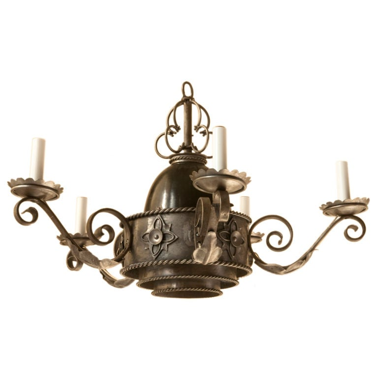neo gothic style tole chandelier with 3 layered central