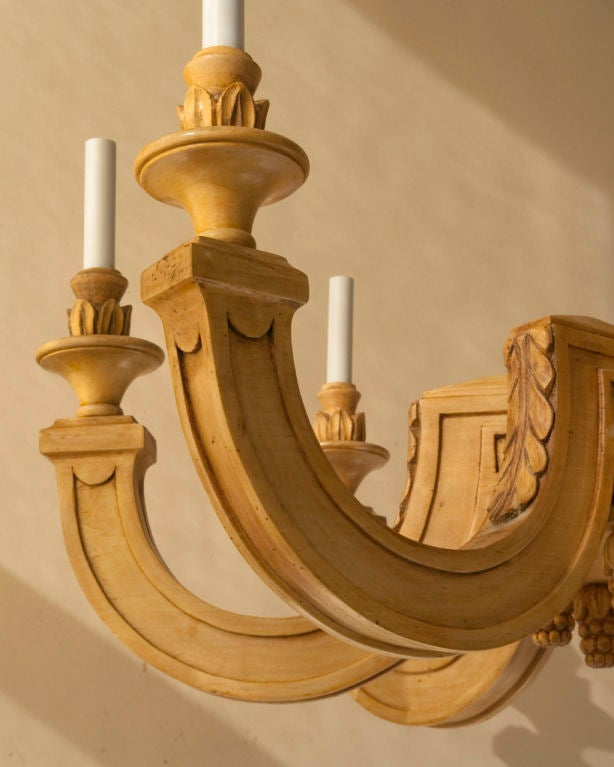 Neo classical style chandelier natural light wood at 1stdibs for Natural wood chandelier