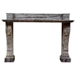 "Charles X style ""bleu fleuri"" marble mantle/console"