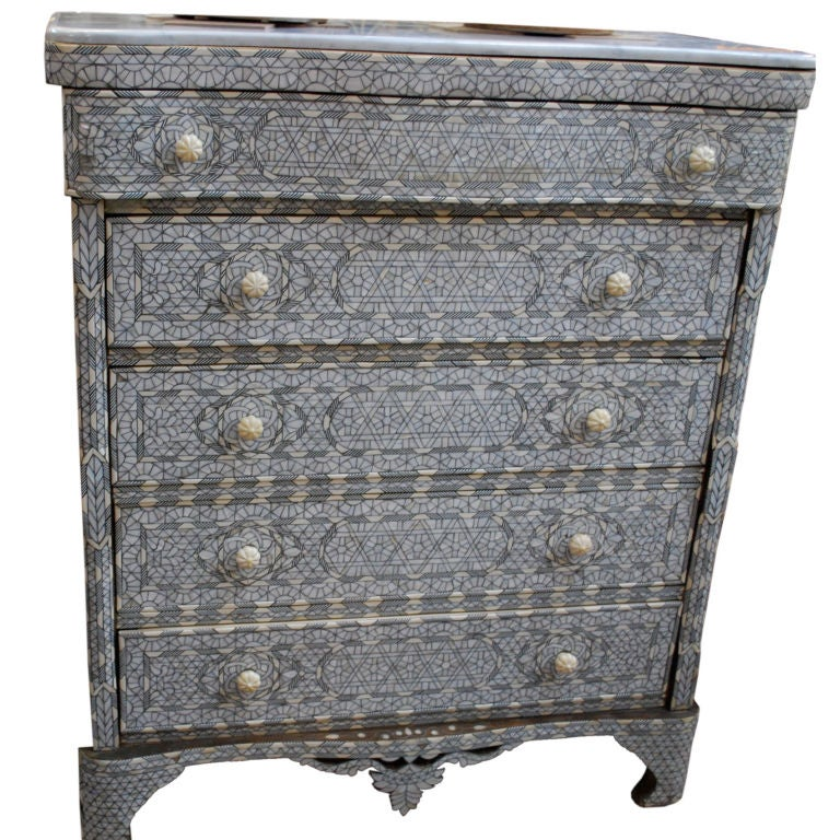 Syrian Inlaid Chest of Drawers Mother of Pearl Inlay