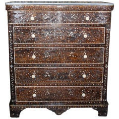 Syrian Inlaid Chest of Drawers with Mother of Pearl Inlay