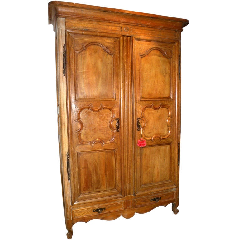 period louis xv shallow armoire for sale at 1stdibs. Black Bedroom Furniture Sets. Home Design Ideas
