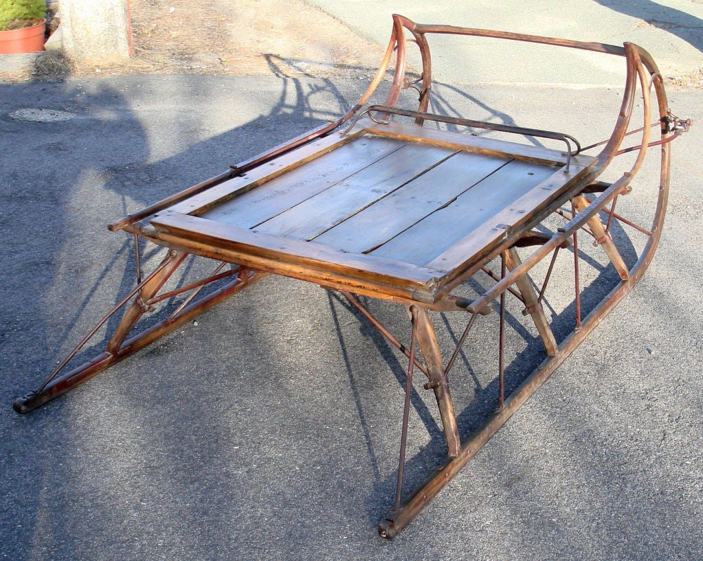 19th century american ice sleigh as coffee table at 1stdibs Antique sleigh coffee table