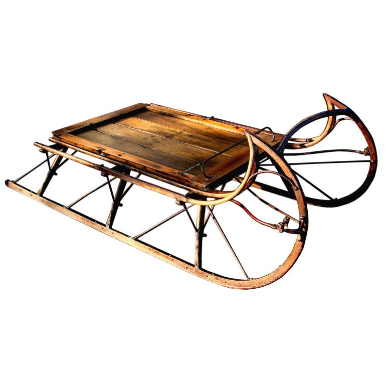19th century american ice sleigh as coffee table at 1stdibs for Sled coffee table