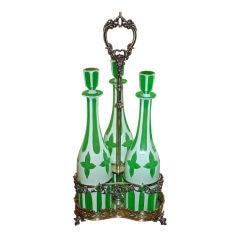 Large Green Overlay Glass Cruet Set