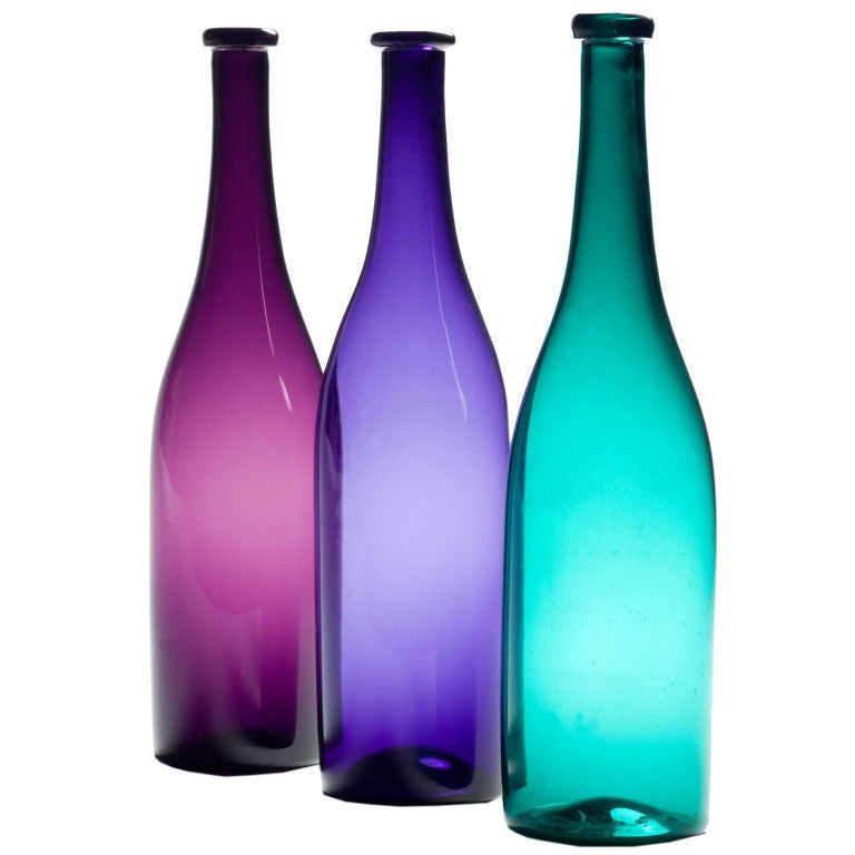 A Group Of Coloured Glass Bottles At 1stdibs