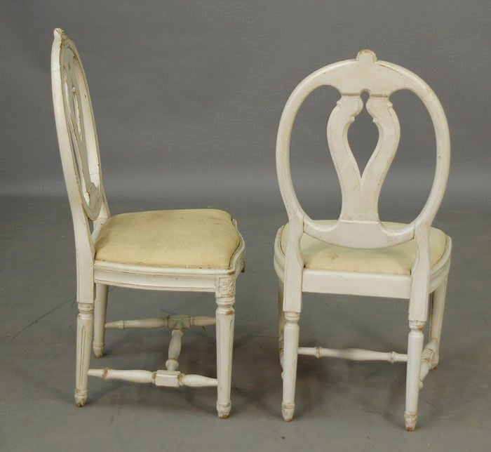 Swedish set of 6 oval back dining chairs at 1stdibs for White oval back dining chair
