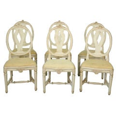 Swedish Set of 6 Oval Back Dining Chairs