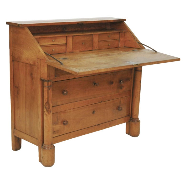 Fall Front Desk ~ French cherry louis philippe drop front desk at stdibs