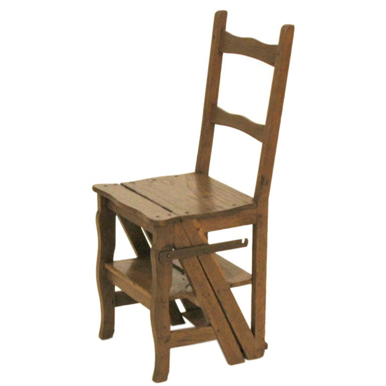 English Oak And Chestnut Ladder Chair At 1stdibs