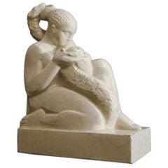 """Eve with Serpent,"" unique French Art Deco sculpture"