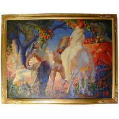 """""""Apple Pickers"""" Large Art Deco Painting with Male Nudes"""